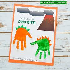 """<b>Dad</b>, <b>You</b> Are DINO-MITE!"" Printable Dinosaur Handprint Card Idea"