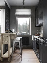 Narrow Kitchen Kitchen Design Modern Small And Narrow Kitchen Design With Black