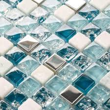 get ations le glass stone glass mosaic backsplash tile kitchen bathroom mirror shower wall stickers blue metal stone