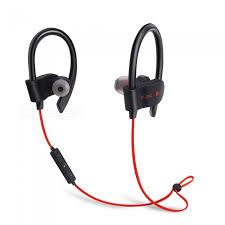 56s sports wireless bluetooth ear hook style in ear earphones sweatproof stereo earbuds headset with mic for smartphone red