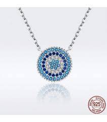 bohemia lucky blue eye necklace women round crystal guardian s eye necklaces pendants jewelry