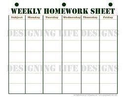 Weekly Homework Planner Homework Planner Schedule And Weekly Homework Sheet Student Printable