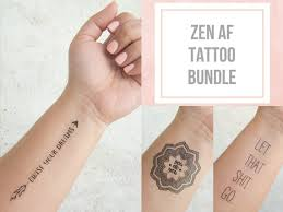 Good Tattoo Quotes Best Zen AF Tattoo Bundle Mandala Tattoo Temporary Tattoo Quote Etsy