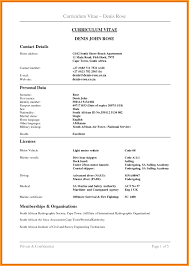Curriculum Vitae Template Free Download South Africa Free Cv Resume