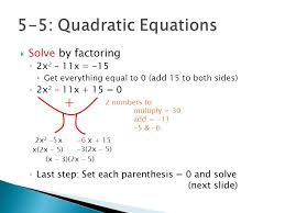 quadratics by factoring