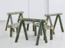 furniture made of bamboo. this is a furniture collection by stefan diez for japan creative that made from bamboo and kevlar rope without screws of