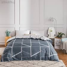 simple gray plaid bedding set 1 pc duvet cover 100 cotton material quilt cover with