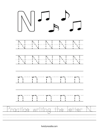 Practice Writing Letters Practice Writing The Letter N Worksheet Twisty Noodle