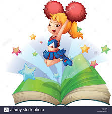 ilration of an open book with an image of a dancing cheerleader on a white background