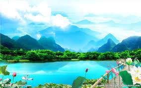 美丽风景湖光山色背景墙设计图__无框画_环境设计_设计图库_昵图网nipic.com