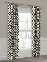 Custom Black and White Geometric Ring Top Drapery Panel contemporary