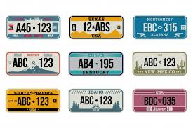Free Vector | Usa car number plates set