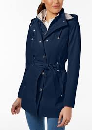 nautica plus size belted waterproof trench coat