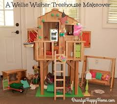 making doll furniture. find out what doll items i recycled to add a treehouse we already had renovate it into wellie wisher playhouse making furniture