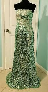 Size 0 Tony Bowls 600 Mermaid Gold Sequin Long Gown Prom
