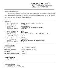Latest Resume Samples For Freshers