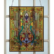 victorian style stained glass window panel with fleur de lis 25 x pertaining to stain covering idea 14