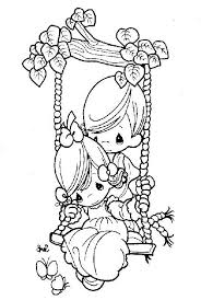 Boy Pushing Girl On Swing Coloring Pages Precious Moments