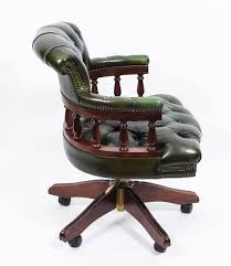 english handmade leather captains desk chair green 3