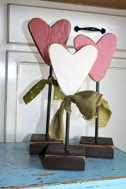 primitive valentine decor heart flowers set of 3 wood block seasonal personalized home gift valentines day decorations