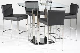modern 5 piece dining set with black leather chairs with stainless steel legs and rectangular table with see through glass countertop