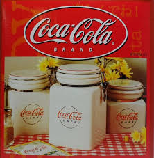 vintage coca cola cafe canister set locking stoneware gibson 2000 dinnerware new