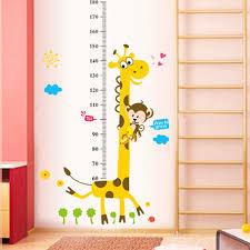 Us 0 97 39 Off 3d Cartoon Animal Giraffe Monkey Flower Cloud Height Chart Wall Sticker Kids Room Living Room Bedroom Wall Art Sticker Poster In