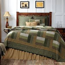 new country rustic log cabin quilt olive green tan brown queen bedspread country lodge quilt bedding