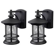 canarm ryder 1 light black outdoor wall lantern with seeded glass 2 pack