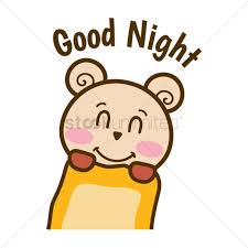 cartoon bear wishing goodnight vector graphic