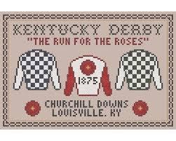 2010 Kentucky Derby Chart Kentucky Derby Sampler Original Cross Stitch Chart The Run For The Roses
