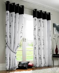 Lined Bedroom Curtains Details About Rose Lined Voile Panels Black White Eyelet Ring