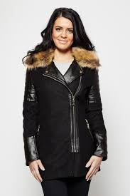 black with leather look quilted panels and faux fur collar vera coat