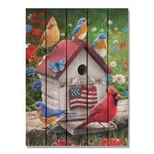 shop giordano s patriotic birdhouse 28x36 indoor outdoor cedar wall art multi color on sale free shipping today overstock 21541428 on patriotic outdoor wall art with shop giordano s patriotic birdhouse 28x36 indoor outdoor cedar