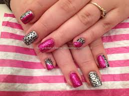 Eye Candy Nails & Training - Acrylic nails with silver and pink ...