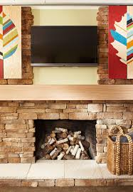 Hide your tv Nice Fireplaceartworktv Measure The Depth Of Your Tv The Handymans Daughter Artwork That Slides To Hide Your Tv