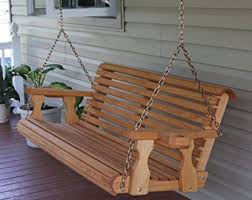 patio swing il  foot amish heavy duty  lb roll back treated porch swing with cupholde