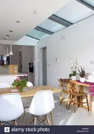 White Kitchen Uk White Modern Kitchen With Skylights Residential House Uk Stock