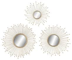 3 piece metal and mirror wall decor set