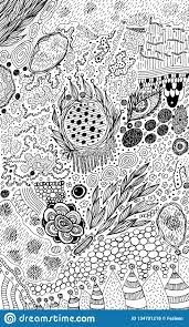 Psychedelic Abstract Ink Sketch Surreal Weird Line Drawing For