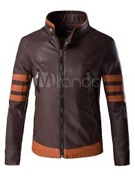leather jacket men stand collar jacket zipper stripe 2019 brown motorcycle jacket no 1