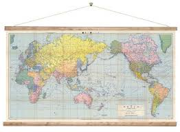 World Map Wall Chart New Zealand Centered Ready To Hang