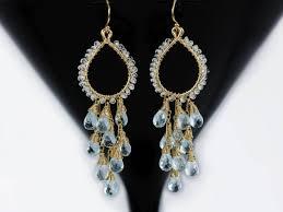the morning dew earrings aquamarine chandelier earrings wire wrapped gemstone earrings