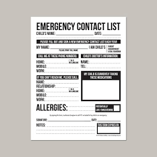 Emergency Form For Daycare Emergency Contact Form For Nanny Babysitter Or Daycare Printable Pdf Sheet