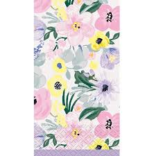 Spring Flower Paper Napkins Watercolor Spring Flowers Paper Guest Napkins 7 75 X 4 5in 20ct