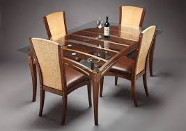 Dining Room Table Base Design Ideas Furniture Rectangular Clear Glass Top Dining  Table With Oak Wood