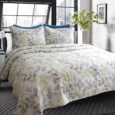 unique yellow leaf floral cotton quilting quilt waterwash ... & unique yellow leaf floral cotton quilting quilt waterwash bedspread hotel  bedding 3pcs quilts set bedcover king size wholesale-in Quilts from Home &  Garden ... Adamdwight.com