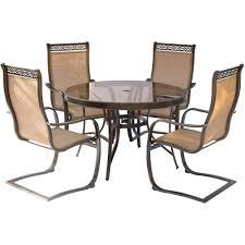 Aluminum Outdoor Dining Table Hanover Monaco 5 Piece Aluminum Outdoor Dining Set With Round