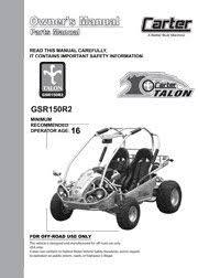 carter brothers manuals carter talon gsr 150 parts user manual