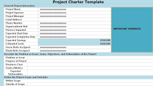 Project Charter Template Excel Project Charter Template Continuous